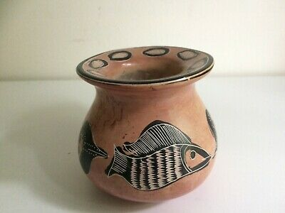 Vintage Coloured Soapstone Pot Depicting Fish