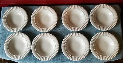 8 Pc RETRONEU Let's Eat Shell White Rimmed Soup Cereal Bowls Raised Dots Ribbed