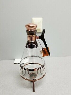 Vintage Inland Glass Coffee Carafe with Metal Warmer Features Copper Trim MCM+
