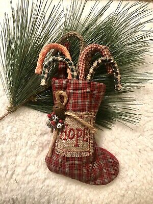 Christmas Primitive Country Handmade Candy Canes Package of 6 With Stocking HOPE