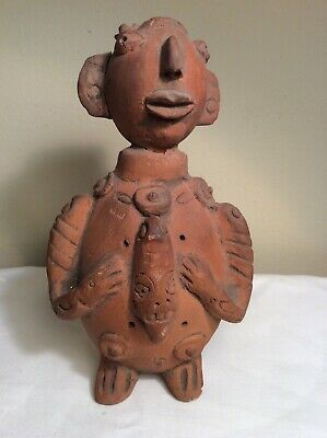Antique Antient Style Pre Columbian Pottery Red Clay Human Figurine Sculpture