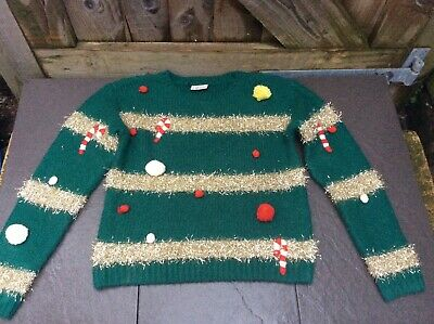 Next Green/Gold Tinsel Girls Christmas Jumper 10/11/12 Yrs Acndy Canes/Pompoms