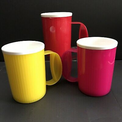 Tupperware Insulated Mugs Lot Red Yellow Pink 16oz  3639A