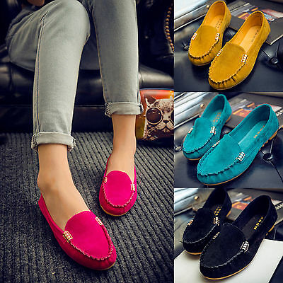 Ladies Moccasins Womens Suede Pumps Casual Loafers Slip On Shoes Casual Size 6