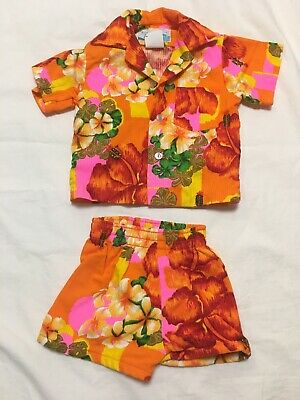 VTG Penney's Hawaiian Kids Shirt Shorts Set Cotton Floral 60s Baby Rare Outfit