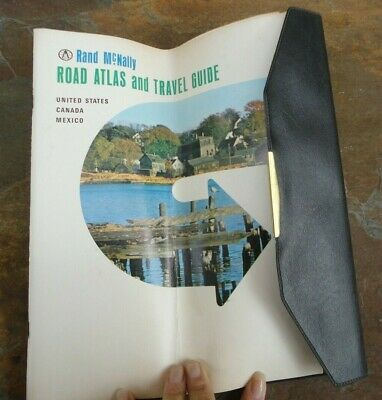 RETRO 1966 Vintage RAND MCNALLY Road Atlas faux LEATHER COVER USA CANADA MEXICO