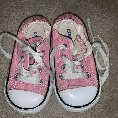 Girls Infant Size 4 - Pink Converse Trainers