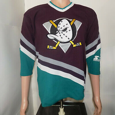 Anaheim Mighty Ducks Vintage Starter Jersey (Youth L/XL) 1990's Authentic Sewn