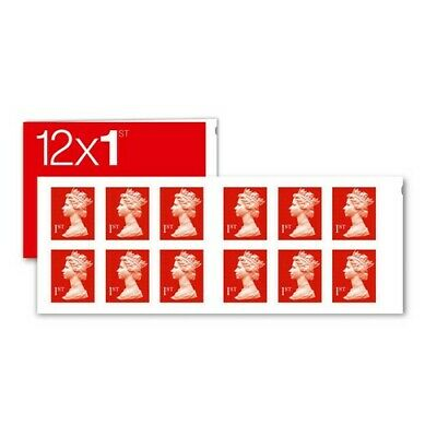 Royal Mail 1st Class Stamps Book of 12 New Unused! Free P&P