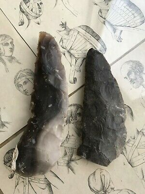 2 sickle Neolithic tools flint stone different whole agriculture 14 11