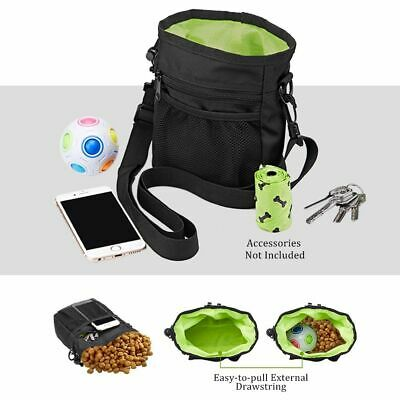 Compact Portable Dog Feeder Training Pouch Pet Built In Poop Bag Dispenser
