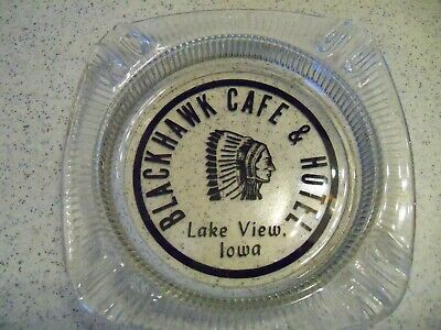Blackhawk Cafe & Hotel Vintage Glass Ashtray~Lake View, Iowa~FREE SHIPPING!!!