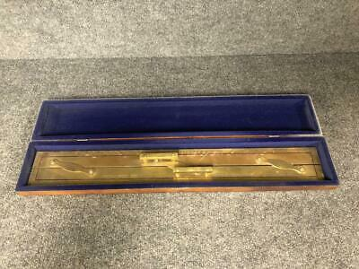 "Vintage Kelvin Hughes Nautical Navigation Brass 24"" Parallel Ruler with Box"