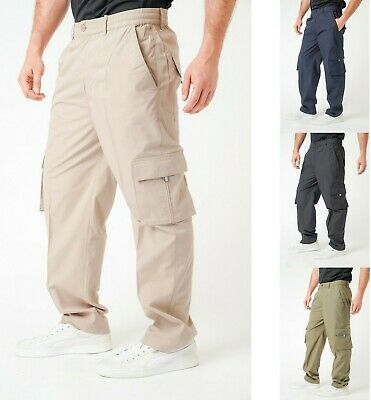 Mens Elasticated Cargo Combat Trousers Lightweight Work Bottoms Pants M-3XL