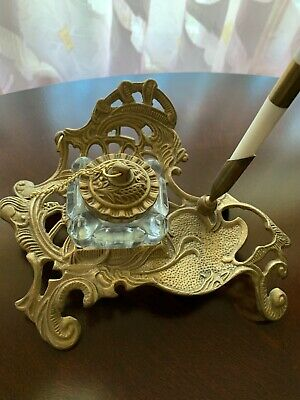Pre Owned VINTAGE BRASS CRYSTAL INKWELL Rococo Style Antique French Style