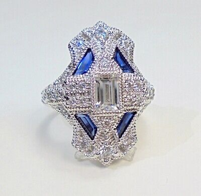 HSN Absolute Art Deco Sterling Silver Created Sapphire CZ Ring Sz 7
