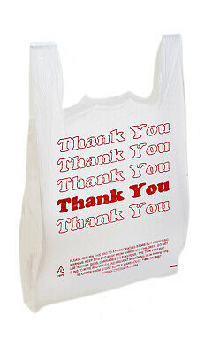 """Large Plastic Thank You Bags (T-Shirt Bags) 18""""x8""""x30"""" - Case of 500"""