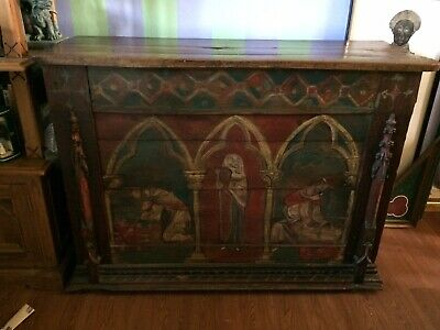Stunning French Painted Reclaimed Medieval Chest