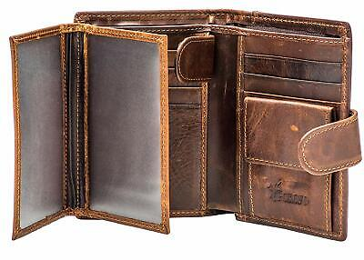 Men's RFID Large Leather Trifold Wallet Snap Closure 3 ID Windows