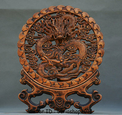 """14.8"""" Old Chinese Huanghuali Wood Dynasty Zodiac Dragon Loong Screen Statue"""