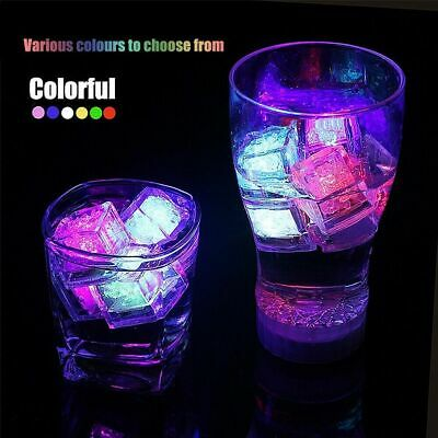 12Pcs Light-up LED Ice Cubes for Drinks Wine Whiskey Color Changing Light Club