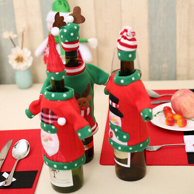 Christmas Theme Red Wine Bottle Cover Bags Dinner Table Decoration Xmas Gifts