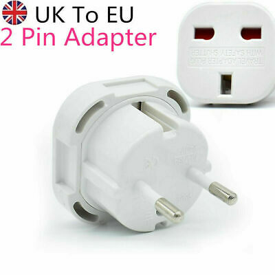 UK To EU Euro Europe European 2 Pin Plug Travel Adaptor Adapter CE Approved New