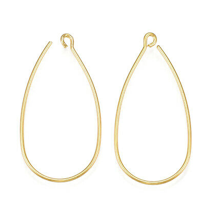 10pcs Brass Curved Drop Earring Hooks Real Gold Plated Earwire w/ Loop 34~35mm
