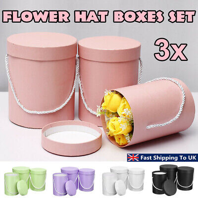 3Pcs Set Flower Hat Boxes Florist Christmas Floral Gifts Display With Handle Y