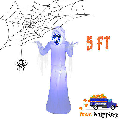 5 ft Pre-Lit Inflatable Frightening Reaper Airblown Black Light Halloween Decor