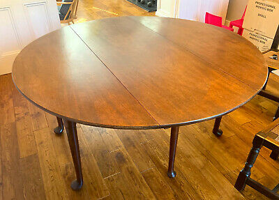 Original Large Oak Circular, Drop Leaf Double Gate Leg Table 18th Century