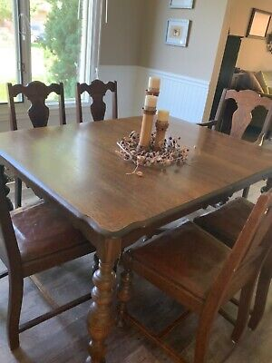 Solid Oak Dining Room Set. Includes table, 6 chairs, buffet and china cabinet