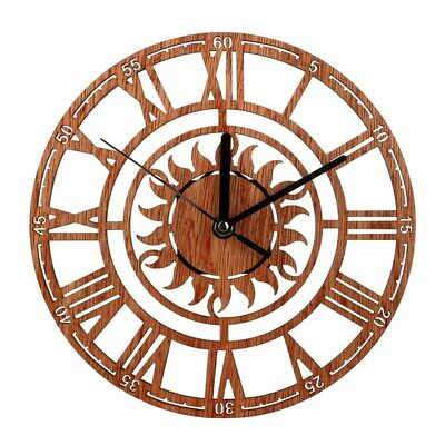 Vintage Wooden Wall Clock Shabby Chic Rustic Kitchen Home Antique Watches K6E9