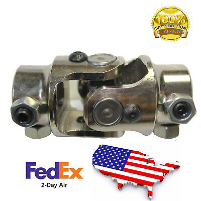 "1/""-48 Spline Column x 3//4/"" DD shaft CHROME Steering U Joint Rat Street Rod"