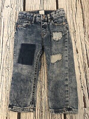9-12 Months Patchwork  Ripped Skinny Jeans Girls Babies H&M Stonewashed