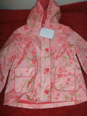 BNWT Girls Age 4 Sweet Millie Pretty Fleece Lined Raincoat with Button Fastening