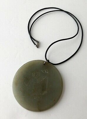 Vintag Antique Green Jade Round Pendant Cord Sterling Silver 925 Clasp Necklace