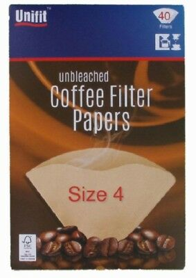 40 Unbleached COFFEE FILTER PAPERS Cones 1-4 Cups Size 4 for Espresso
