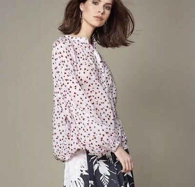 Anna Glover HM Womens 4 Feather Sister Floral Blouse Top Boho Long Sleeve