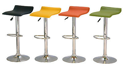 Stools Leather Coloured Chrome No Back Black Yellow Green Orange - Pack of Two