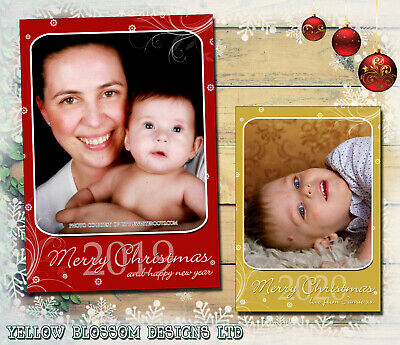 10 Personalised Christmas Photo Greeting Cards Friends Family Baby Xmas Portrait