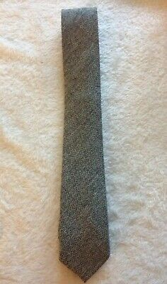 Frederick Thomas plain skinny dark royal blue 100/% wool tweed tie