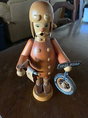 Vintage German Erzgebirge Wooden Incense Smoker Harley Davidson Figurine