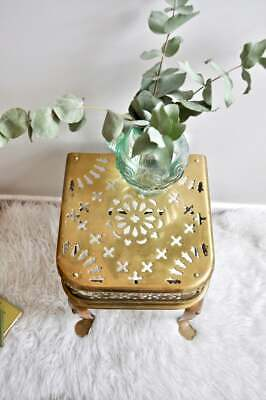Vintage antique brass fire stool or plant stand from the 1960s, bohemian decor