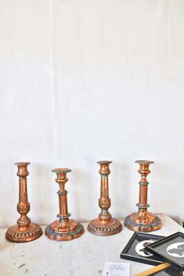 Set of 4 vintage French art nouveau copper candlestick holders