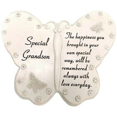 Special Grandson Diamante Butterfly Graveside Grave Memorial Plaque Ornament