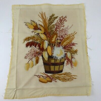 Vintage Finished Crewel Embroidery Panel Completed Autumn Floral Basket 19x24