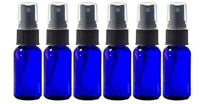 Glass Spray Bottles - 6 Pack  15ml (1/2 oz) Cobalt Blue Black Fine Mist Sprayer