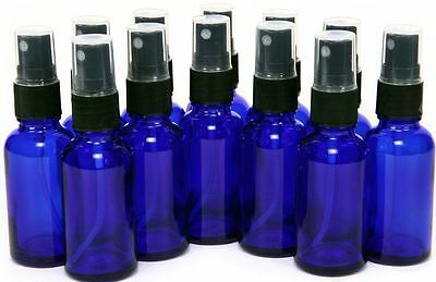 12 Pack- 15ml (1/2 oz) Cobalt Blue Glass Bottles, with Black Fine Mist Sprayer