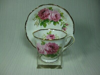 Royal Albert American Beauty Rose Cup & Saucer Countess Shape Brushed Gold Trim